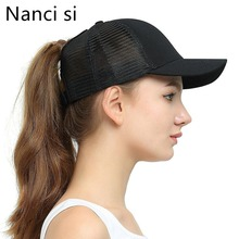 Nanci si 2019 New Arrivals Solid Color Ponytail Hair Baseball Cap Women Messy Bun summer Hat Snapback For Girl
