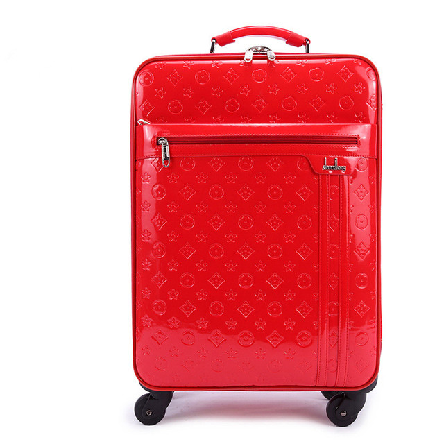 New Arrival!!!24inch red/blue pu leather travel luggages for girl,large capacity wedding box for bride,FGF-0003-24