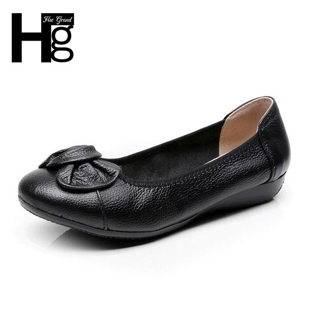 HEE GRAND Women Flat Shoes Flower Decoration Round Toe Women Loafers Slip On Flats Shoes Plus Size 34-43 XWD5581
