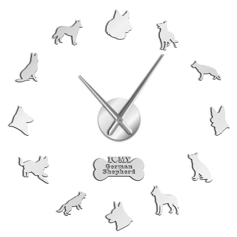German Shepherd Puppies Dog Club Cool Quiet Sweep Wall Art Clock Dog Breed Self Adhesive DIY 3D Wall Clock Animals Shop Decor