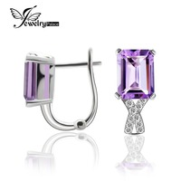 Outstanding Halo Shining Amethyst Clip Earrings Solid 925 Sterling Silver Elegant Fine Jewelry For Lovers Genuine