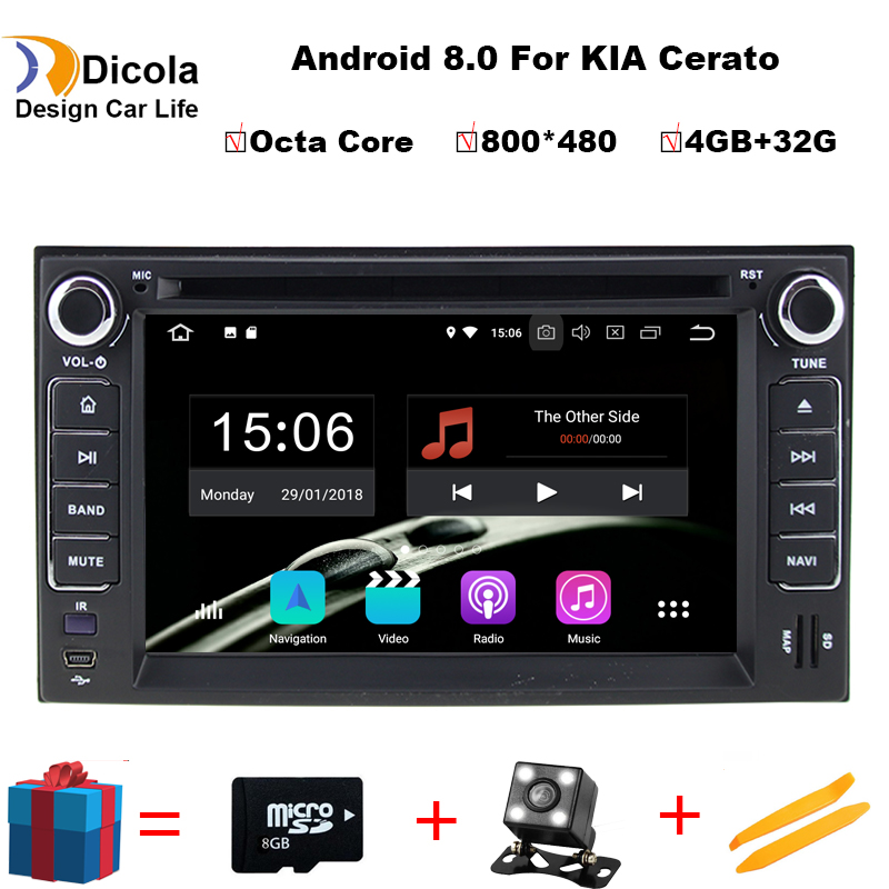 2 din Android 8.0 Octa Core CAR DVD player navigation FOR KIA CERATO CEED SPORTAGE 2004 2010 car audio stereo Multimedia GPS