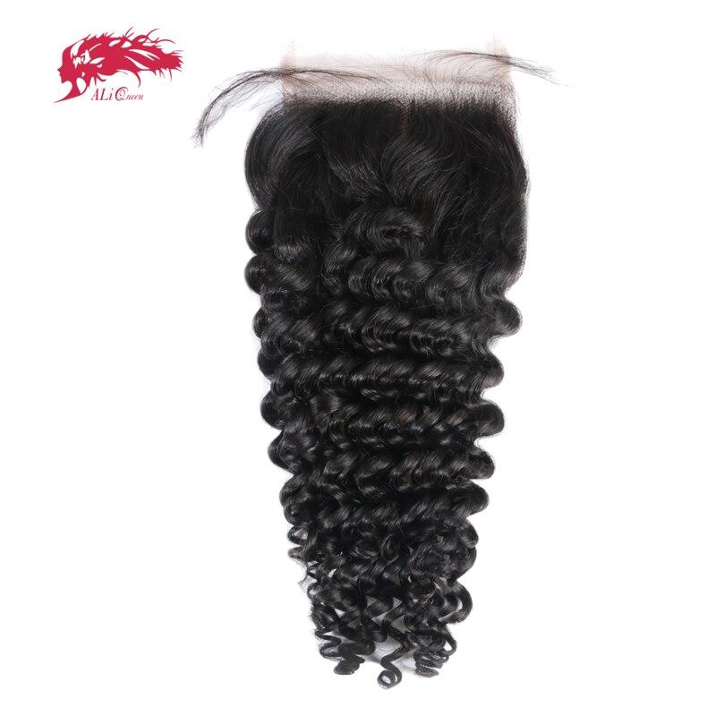 Али Queen Hair продукты глубокой волны бразильский Волосы Remy натуральный Цвет 10 до 20 100% человеческих волос Бесплатная часть кружева застежка