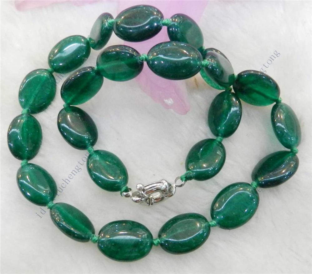 """13x18mm blue Jade Gems Smooth Oval Beaded Necklace 18/"""""""