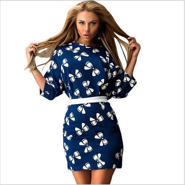 685bc26f43 2015 nuevo estilo moda vestidos estampados mujeres del verano mujeres del vestido  de tres cuartos de la manga ahueca hacia fuera o cuello flojo en Vestidos  ...