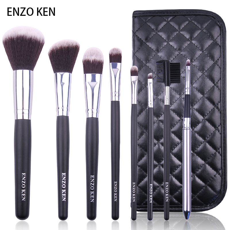 Make-up Pinsel mit Fall ENZO KEN 8 stücke Synthetische Stiftung Pulver Blending Concealer Make-Up Pinsel Set
