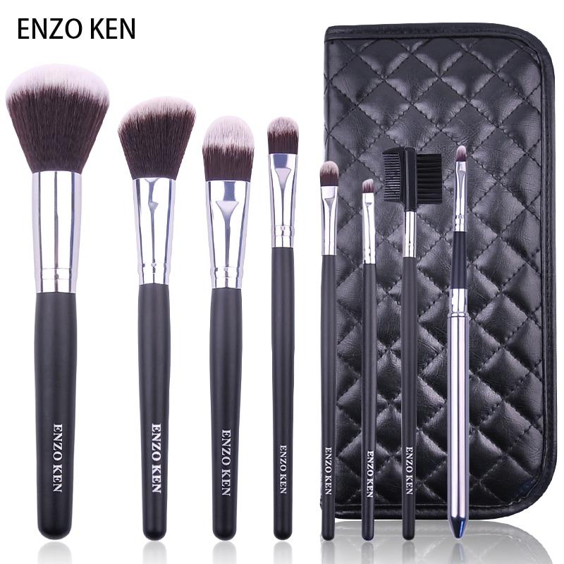 Maquillage Brosses avec Cas ENZO KEN 8 pcs Synthétique Fondation Poudre Mélange Correcteurs Maquillage Brosses Ensemble Professionnel