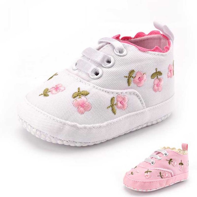 First Walkers 2017 The New Spring Fashion Baby Girl Shoes Cotton Flowers Sneakers Newborn Girl Shoes All Season 11-13cm