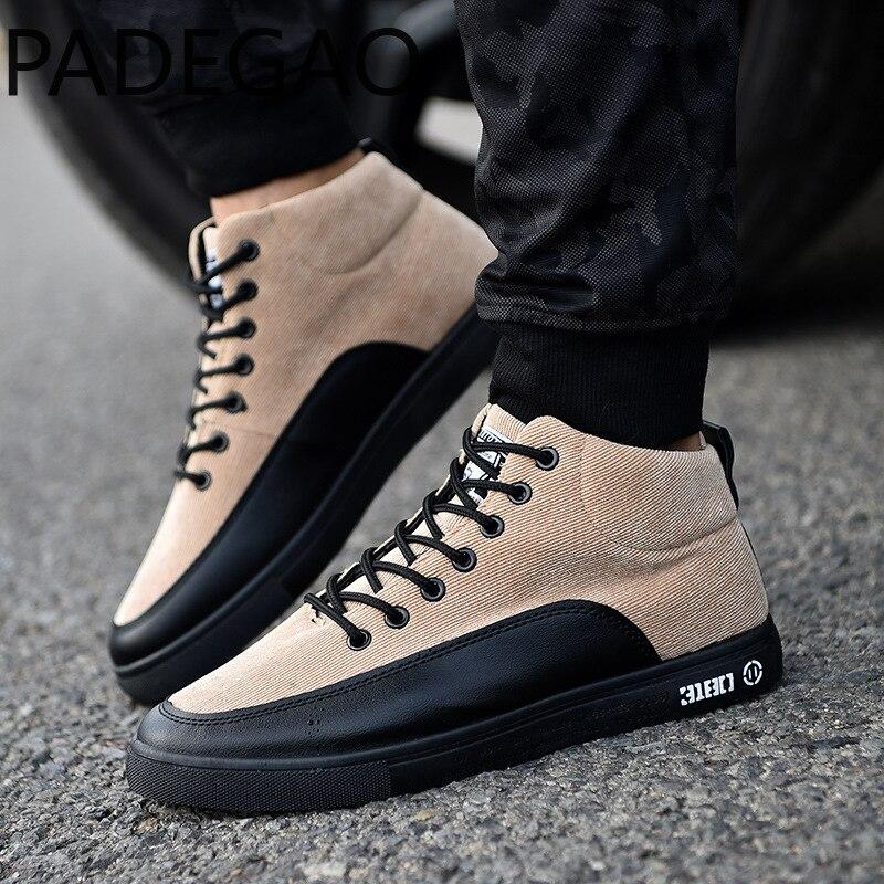 Cheville De Printemps Chaussures 2018 Dentelle Hommes Taille En up Mens Cuir Black khaki gray Hot Grande Boucle Toile Automne Homme Casual Bottes Mode D'hiver OU5wq