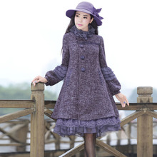 f37e059e056 NANCYLIM Autumn Winter Women s Lace Splicing Loose Plus Size Woolen Coat  Wool Coats