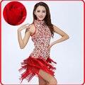 2015 Новая Мода вышивка fringe Латинской Балета Танцы Платье Купальник Женщина Блестки Пачка Живота Танец Латинский Танец Платья