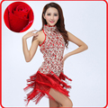 2015 Nueva Moda bordado fringe Latin Ballet Tutú de Danza Del Vientre Danza Leotardo Vestido de Mujer Lentejuelas Vestidos De Baile Latino