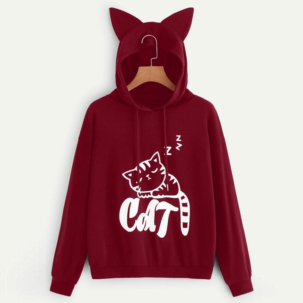 Blouse Women Womens Cat Print Long Sleeve Hoodie Sweatshirt Hooded Pullover Tops Blouse Sweatshirt Women