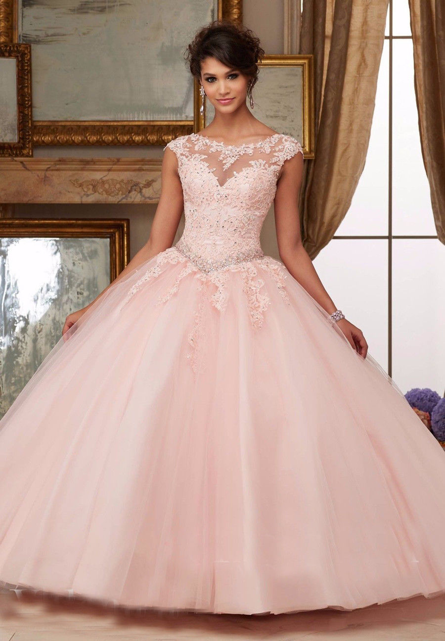 2019 New Ball Gown   Prom     Dress   Long Appliques Tulle Pink/Blue   Dress   for Graduation Quinceanera Vestidos De 15 Anos Debutante