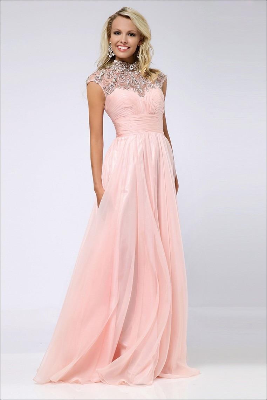2015 High Neck Prom Dresses A Line Chiffon Peach Crystal Evening ...