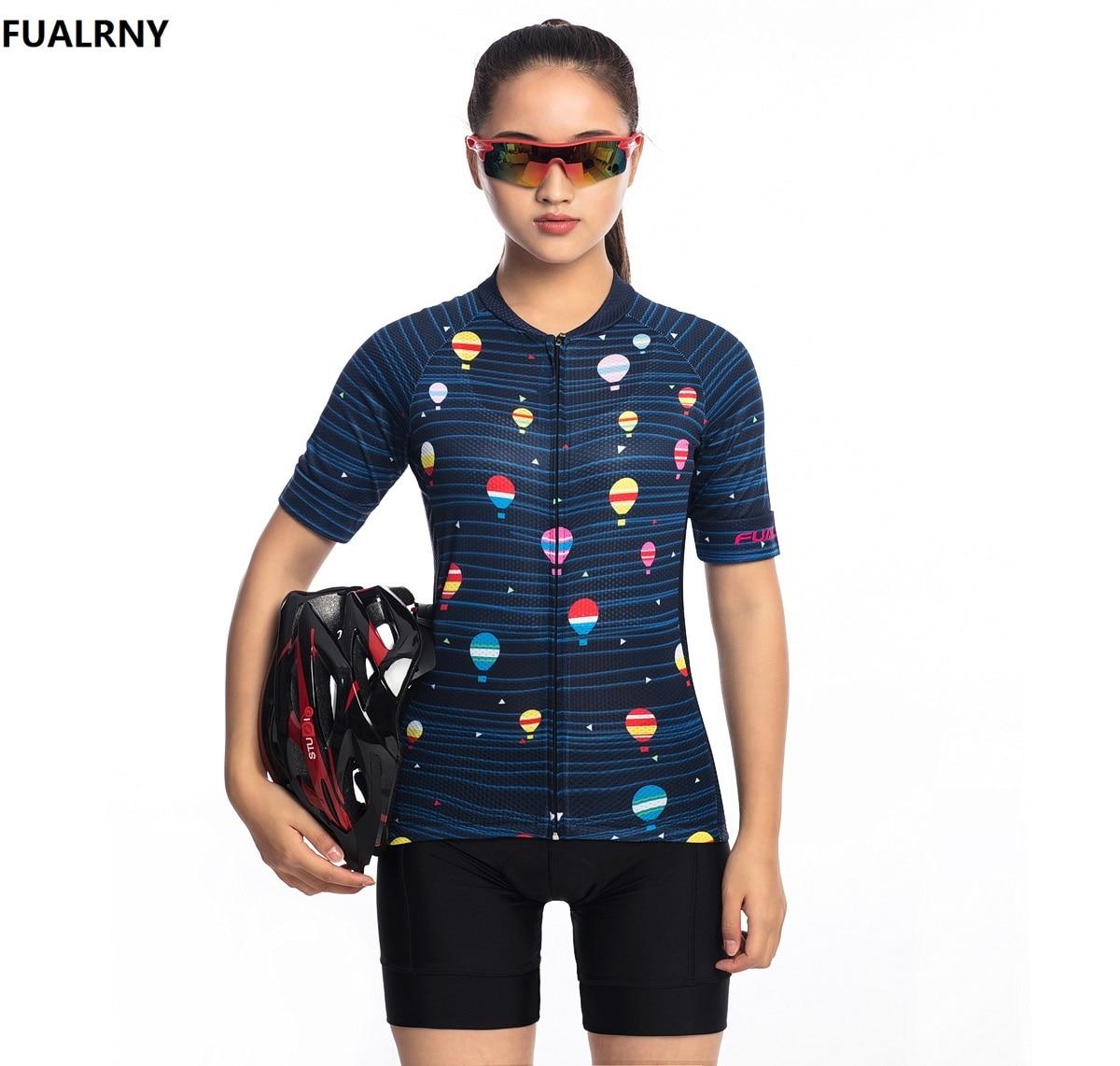 2018 FUALRNY Cycling Jersey Sets Summer Women MTB Bike Cycling Clothing Mountian Bicycle Clothes Ropa Ciclismo Cartoon balloon