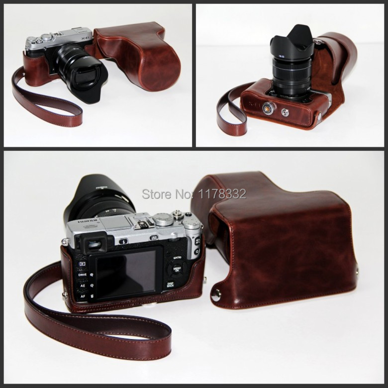 Leather Camera case bag Shoulder Strap for FUJI X-E1 XE1 X-E2 XE2