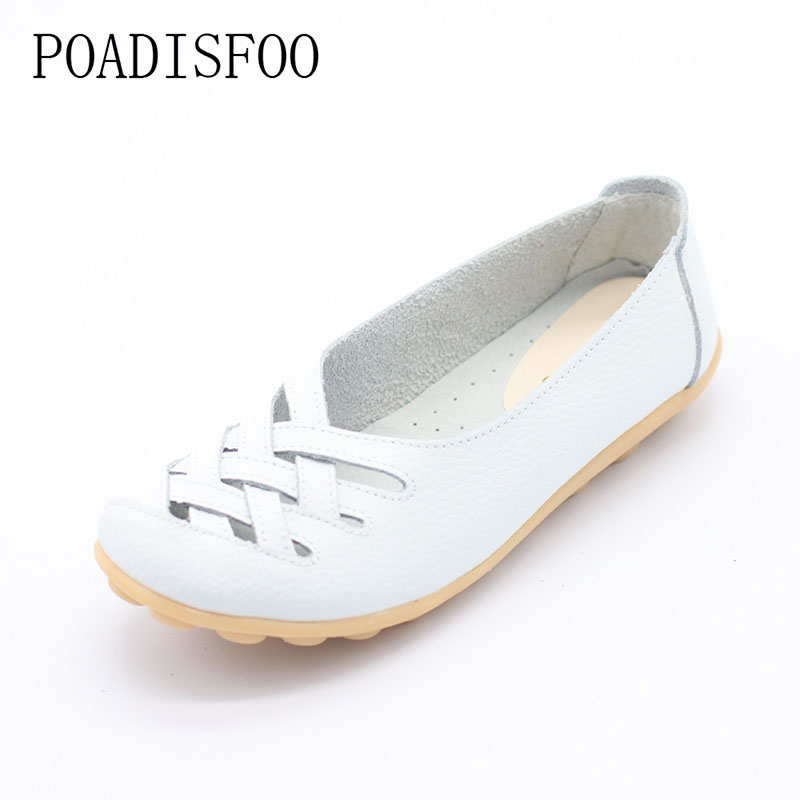 HOKSVZY Woman Shoes Genuine Leather Shoes Flats Drive Shoes Hollow Summer Hollow Leather Tendon Flat Fashion Shoes.CQY-1199
