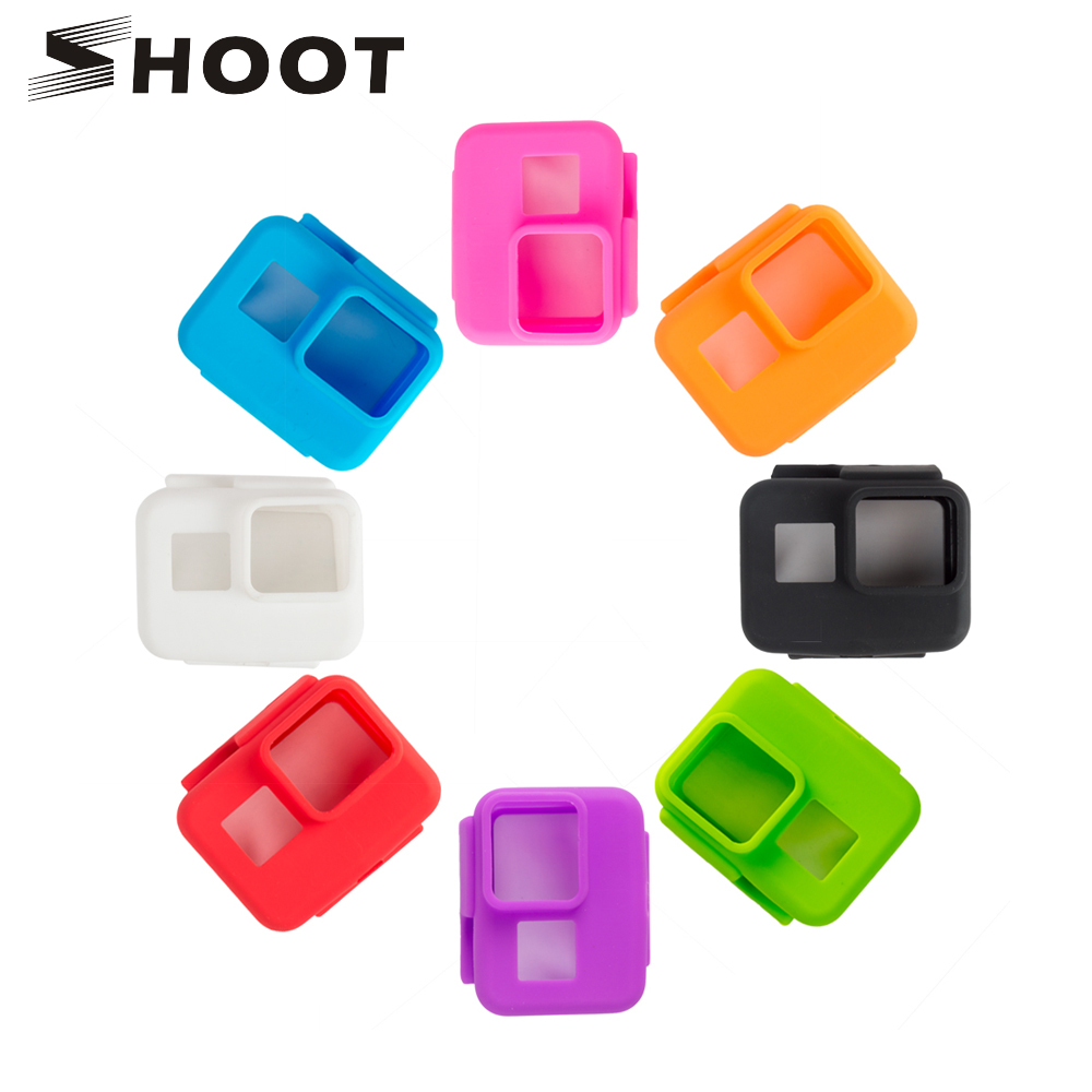 SHOOT Colorful Soft Silicone Protective Case for GoPro Hero 7 6 5 Black Sports Cam Mount Case For Go Pro 7 6 5 Camera Accessory halloween skull pattern protective pc back case for iphone 6 4 7 black orange multi color