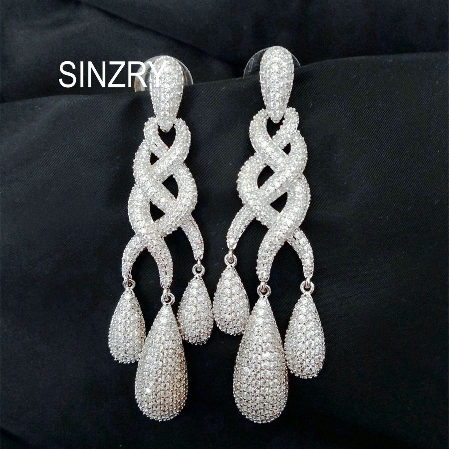 Sinzry Luxury gorgous jewelry micro paved cubic zirconia vintage palace party exaggerated long earrings bridal CZ dangle earring