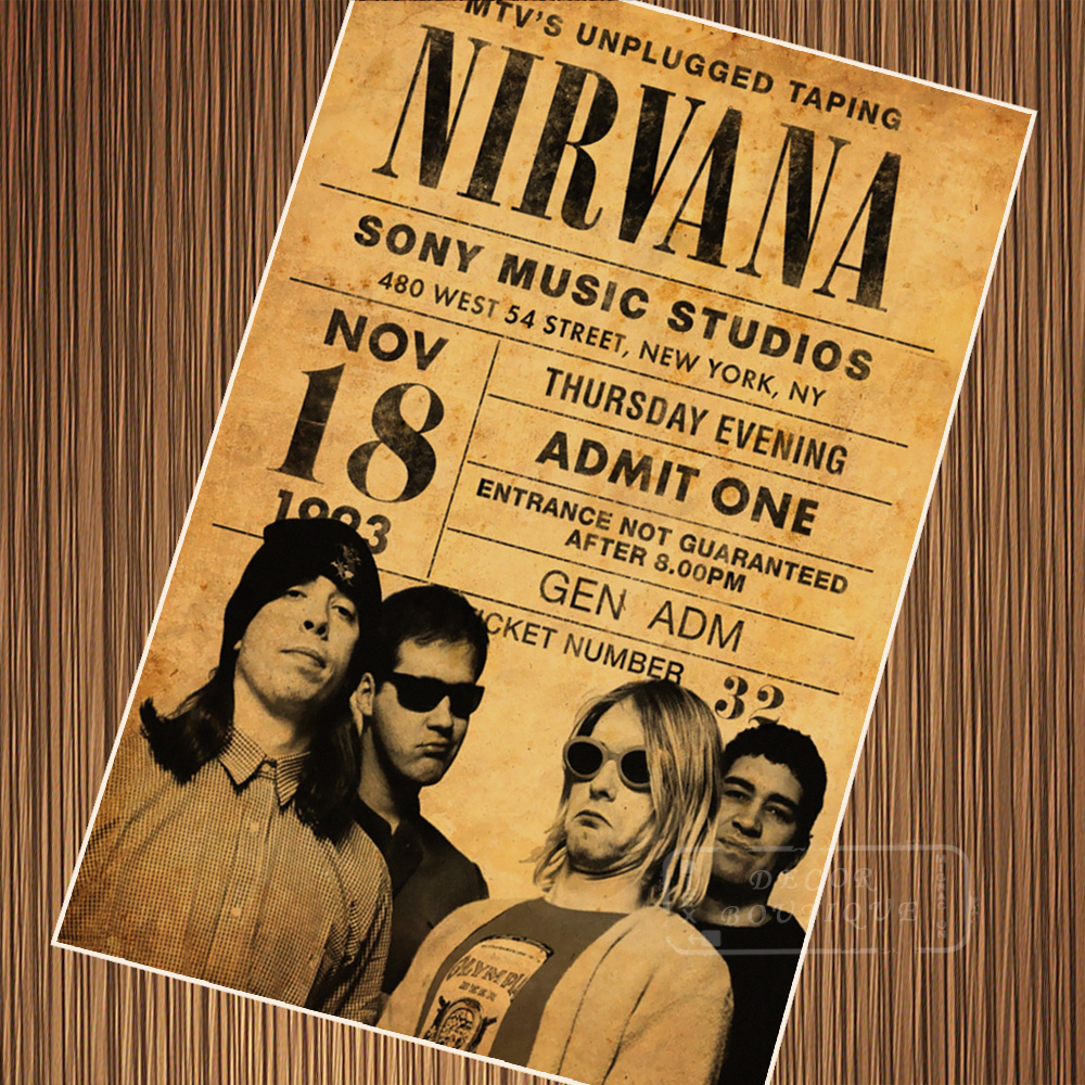 Vintage Nirvana Concert Posters Retro Poster Canvas Painting DIY ...