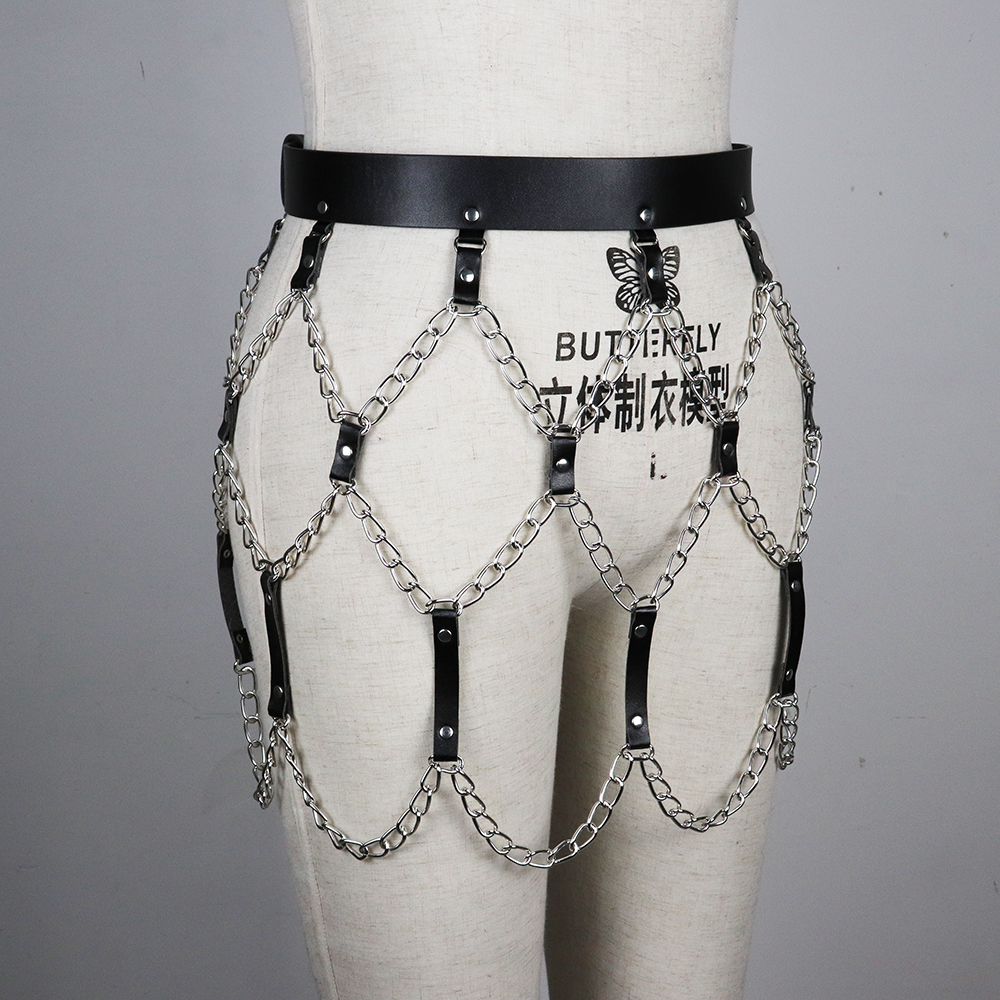 Women Leather Chain Belts Dress Hand Crafted Creative Adjustable PU Leather Harness For Female Buckle Harajuku Belt Wholesale in Women 39 s Belts from Apparel Accessories