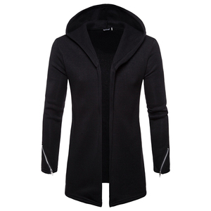Image 3 - Artı boyutu erkekler rahat Hoodies tişörtü kapşonlu trençkot sonbahar moda uzun slim Fit trençkot erkek palto