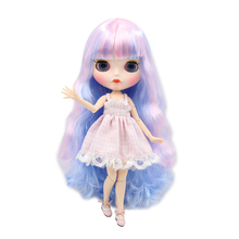 Factory Neo Blythe Doll Pink Mixed Blue Hair Jointed Body 30cm