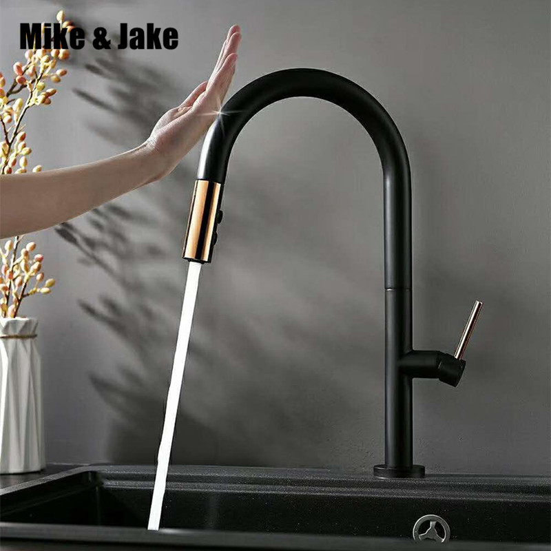 Black Pull Out Sensor Kitchen Faucet Brass Luxury Kitchen Mixer Sink Faucet Mixer Kitchen Faucets Pull Out Kitchen Tap MJ5556