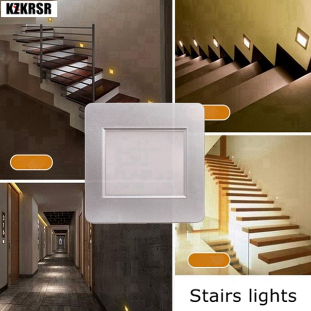 Kzkrsr Led Intelligent Night Light Human Body Motion Induction Radar Sensor Stair Step Staircase Hallway Lamp With 86 Box