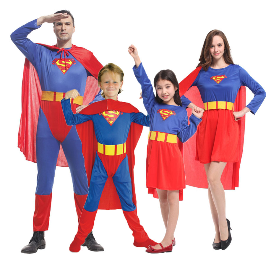 Umorden Purim Carnival Party Halloween Costumes Family Superman Cosplay Super Man Superhero Costume for Adult Kids Boy Girl