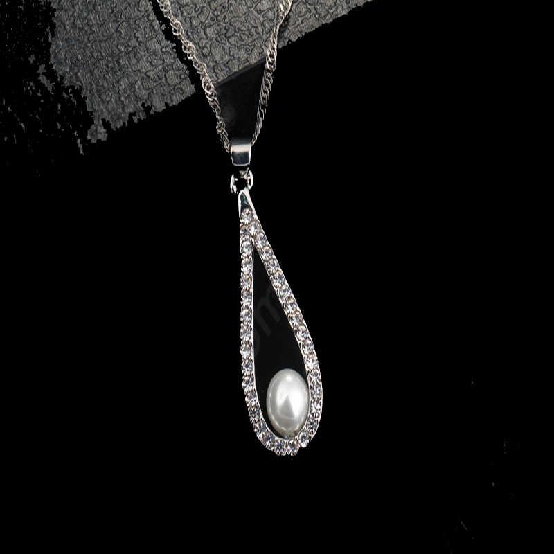 Drop Perle Elegante 925 Sterling Silber Schmuck Set Halskette Anhänger Ohrring Zubehör für Frauen Charme Jahrestag Geschenk