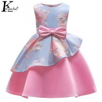 c23ba2fc881 Летние Детские платья для девочек  элегантное платье принцессы  свадебное  платье с цветочным рисунком для девочек  детское вечернее платье .