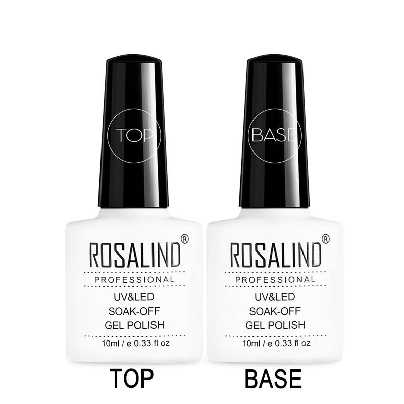 ROSALIND 10ml Top Coat Base Coat Soak Off Gel Nail Polish Long-lasting Multi Base & Top Nail Art Varnish Gel Lacquer