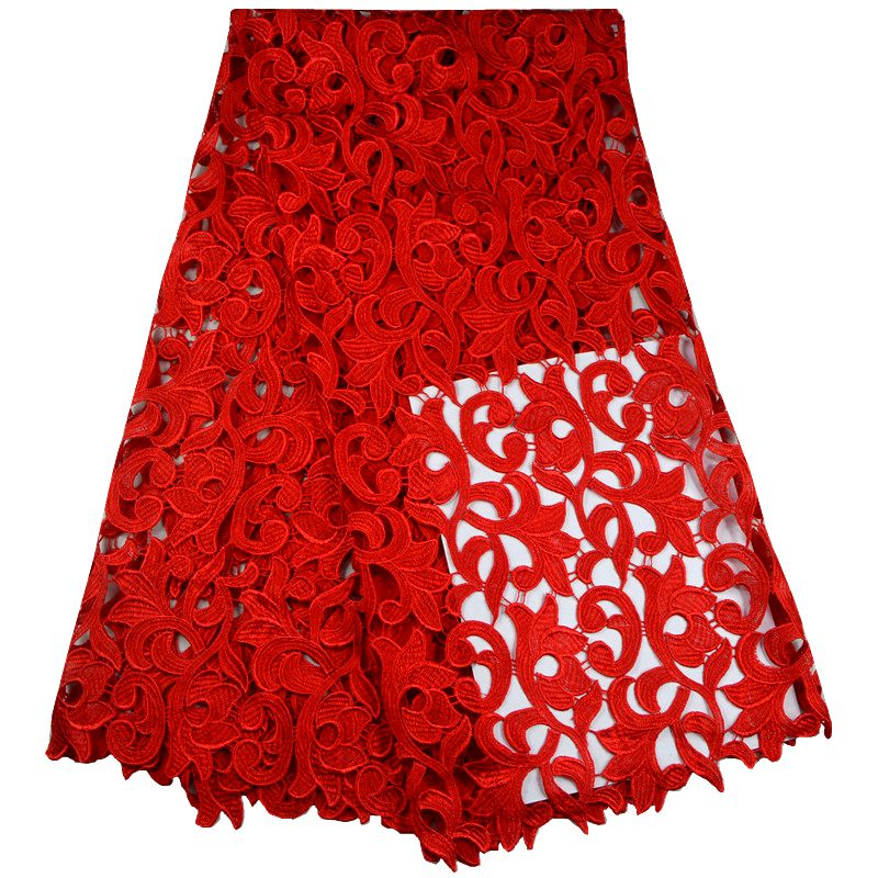 High quality polyester nigerian wedding african lace fabric guipure cord lace fabric for party dress in