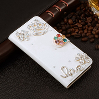 Luxury Girl Lady Diamond Silver Crown Case Case For iPhone X Flip Rhinestone Wallet Leather Handmade Cover For iPhoneX