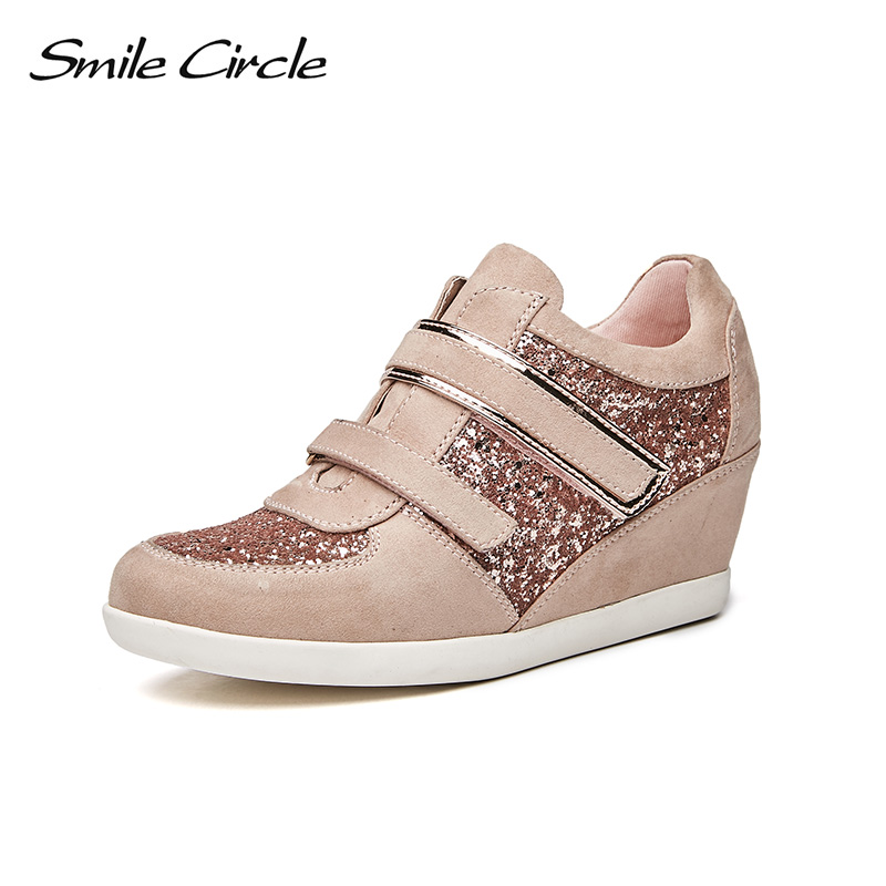 Smile Circle 2018 Spring Wedges Sneakers Women Fashion High-top Platform Shoes High heels Casual women Shoes C7W18B17 smile circle spring autumn women shoes casual sneakers for women fashion lace up flat platform shoes thick bottom sneakers