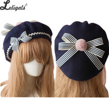 9c84bed1964da Sweet Women s Lolita Sailor Beret Gothic Wool Beret Hat with Lovely Bows  for Winter(China