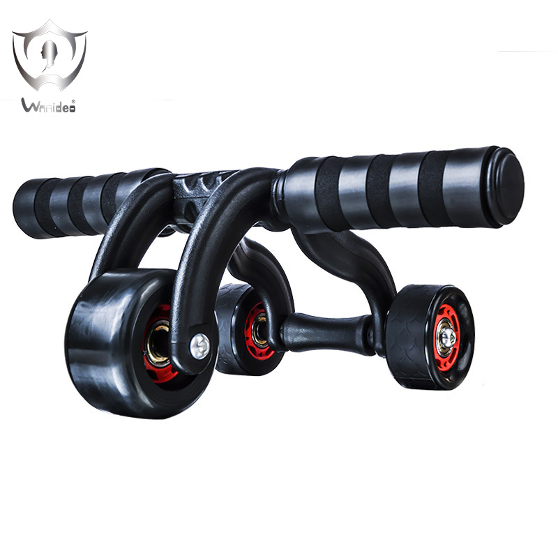 Wnnideo 3 Wheel Ab Exercise Roller with Knee Pad Max Load 300 KG Abdominal Trainer Body Fitness Equipment for Home Gym ZS6-2403