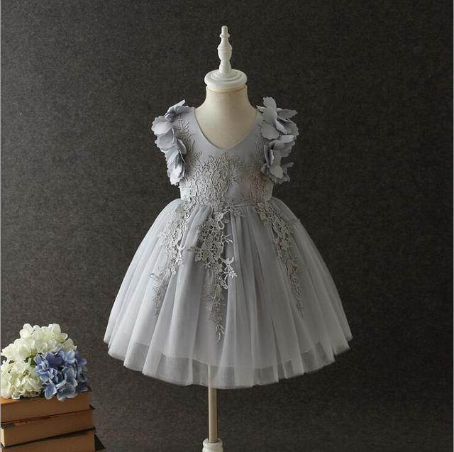 7aadc2cecb1bd graceful baby girls petals tulle dress children princess fringe flowers  tiered sleeveless party gown little girls evening costum