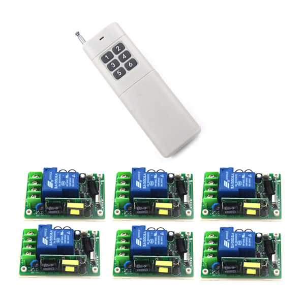 цена на AC 85V-250V 30A Remote Control Wireless GSM Switch 1CH 3000W Relay 6 Receivers 1000M Range 433MHz free shipping SKU: 5284
