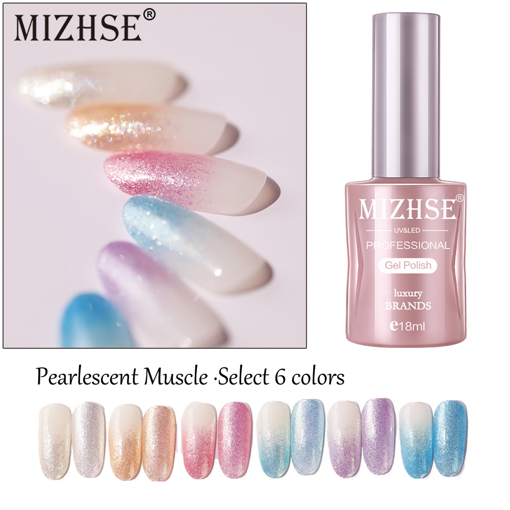MIZHSE 1pc 18ML UV Gel Nail Polish Long Lasting Gellak High Gloss Nail Varnish Shiny Pearlescent Gel Soak Off UV LED Prime Top in Nail Gel from Beauty Health
