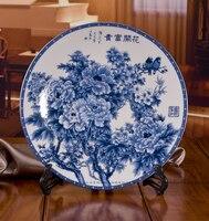 Hängenden platte dekoration platte blooping reichen blauen und weißen porzellanteller jingdezhen keramik dekoration kunstgewerbe