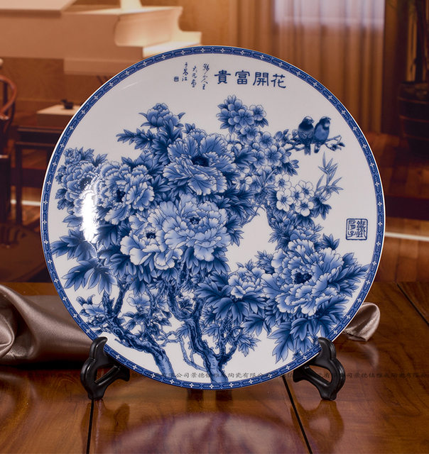 Hanging plate decoration plate blooping rich blue and white porcelain plates jingdezhen ceramic decoration home crafts & Hanging plate decoration plate blooping rich blue and white ...