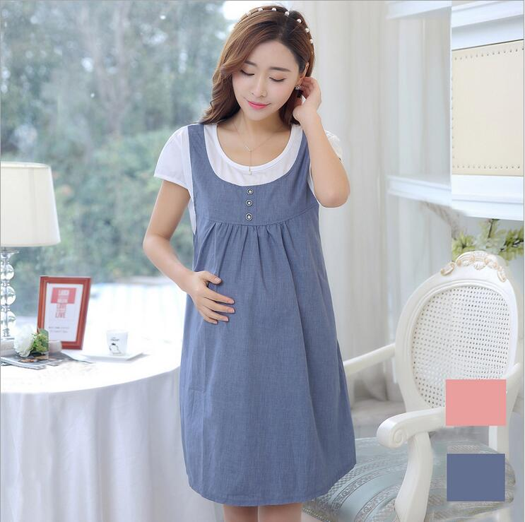 2017 Summer Sweet Women's Pregnant Skirt Cotton Bow Lovely Dress Short Sleeve Soft Plus Size Maternity Casual Patchwork