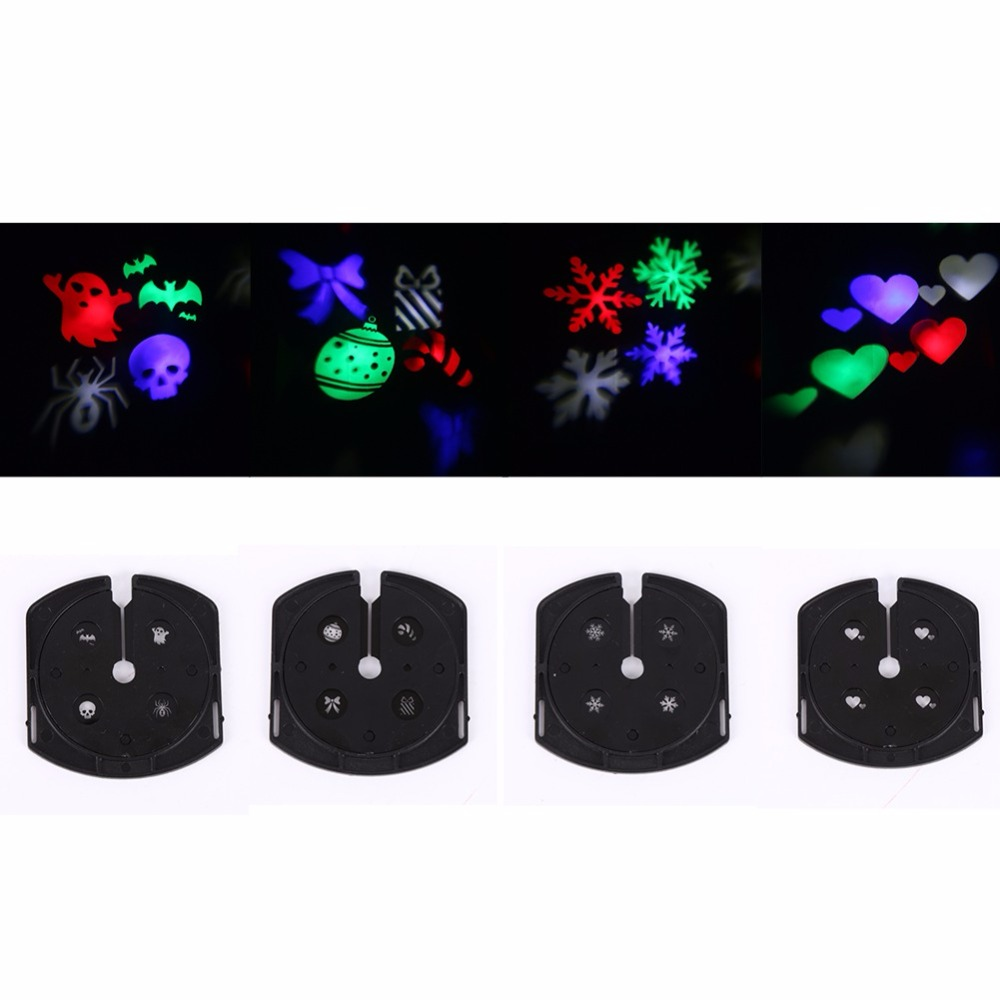 Christmas Lighting Decoration LED Snowflake Projector 3W 4 Pattern Lens Halloween Lighting DJ KTV Bar Rotating Stage Light Bulb rg mini 3 lens 24 patterns led laser projector stage lighting effect 3w blue for dj disco party club laser
