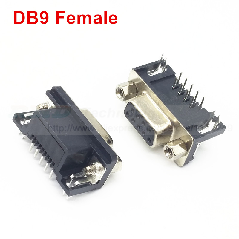 10Pcs//lot DB-9 DB9 male female PCB mount,DR-9S PCB connector,RS232 connector MEU