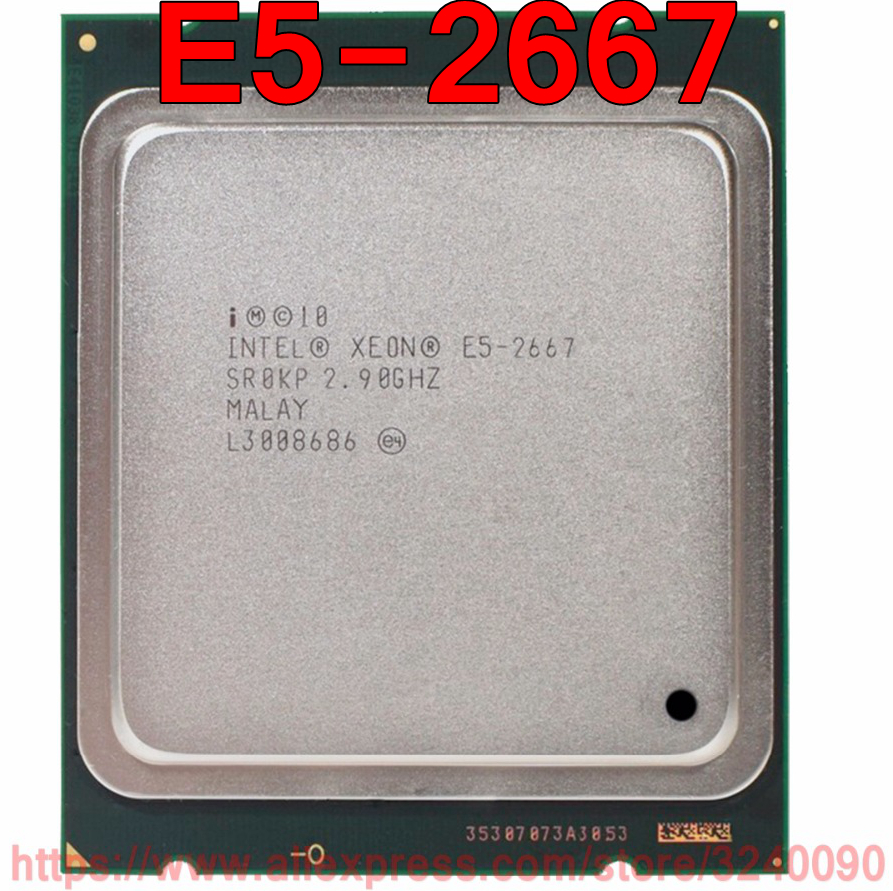 Intel Xeon CPU E5 2667 SR0KP 2.90GHz 6 Core 15M LGA2011 E5 2667 processor free shipping speedy ship out-in CPUs from Computer & Office