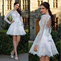 Long Sleeves Lace Homecoming Dresses 2016 White Backless Custom Made For Juniors Sweet 16 Dresses Short