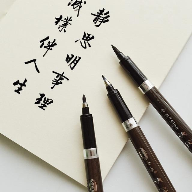 3PCS/set Brush Pen Calligraphy Pen  Chinese Words Learning Stationery StudentArt DrawingMarker Pens School Supplies 2